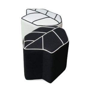 indoor pouf leaf seat black white