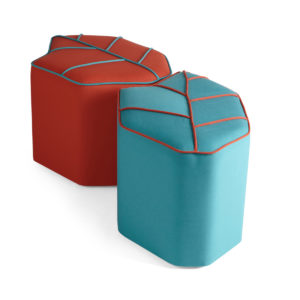 outdoor poufs blue and red