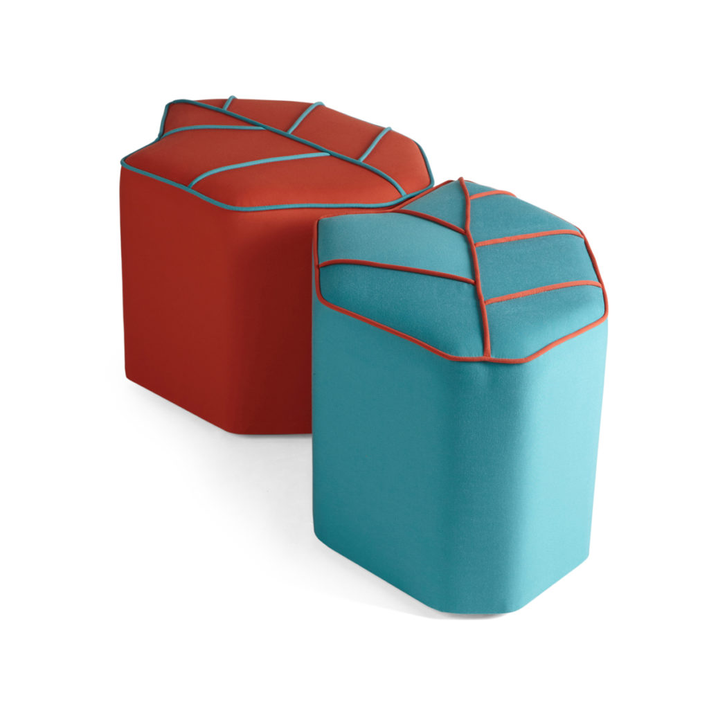 outdoor pouf blue and red