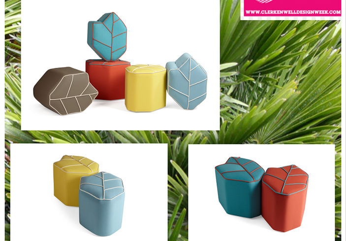 Outdoor poufs at CDW 2018
