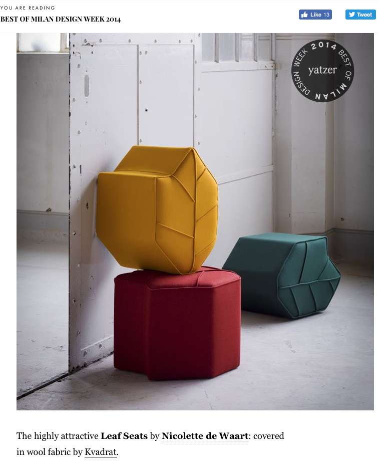 Pouf the Leaf Seat selected best of milan designweek